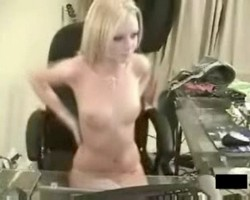 Pretty blonde webcam girl